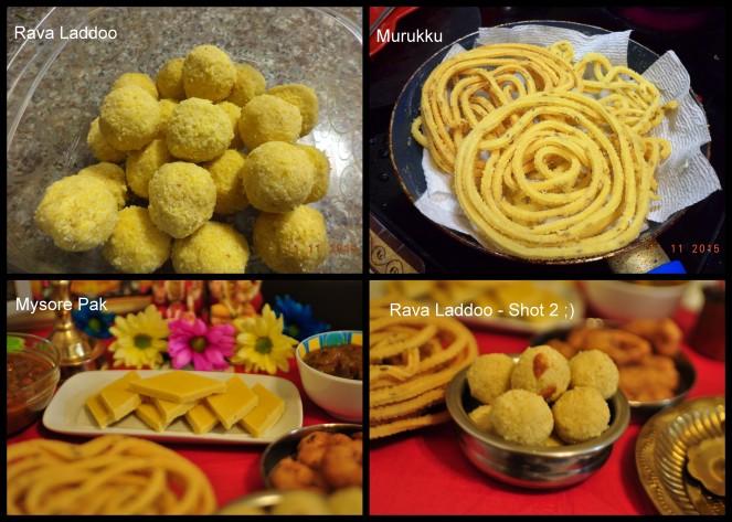 Deepavali Diwali Sweets - Rava laddoo Murukku Mysore Pak